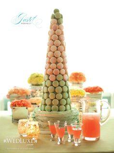 Pink and green macaron tower. Soirette Macarons & Tea.