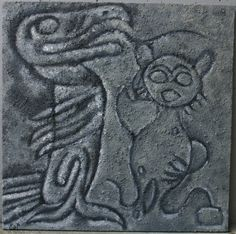 Thunderbird and Shamanic listening female figure petroglyphs painting by Kathleen Scott