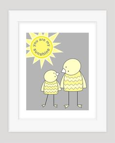You Are My Sunshine Nursery Art Kid's Wall Art by barkingbirdart, $18.00