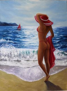 Figure Painting, Oil Painting On Canvas, Red Hats, Girl With Hat, Bikini Beach, Erotic Art, Seaside, Swimsuits, Paintings