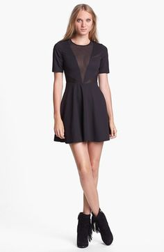 Lucca Couture Mesh Inset Fit & Flare Dress available at #Nordstrom