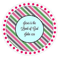 Christ-Centered Easter Basket: Jesus is the Lamb of God.  Free-printable tag. Could add a popsickle stick and make fans for kids?..