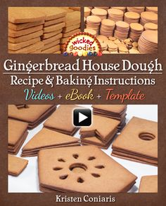 Gingerbread House Dough Recipe and Baking Instructions Recipe with info and instructions on how to bake gingerbread house pieces, an ebook by Kristen Coniaris of Wicked Goodies Gingerbread House Candy, Gingerbread House Template, Gingerbread Dough, Gingerbread House Designs, Christmas Gingerbread, Construction Gingerbread Recipe, Gingerbread House Cookie Recipe, Homemade Gingerbread House, Gingerbread Castle