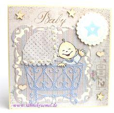 "Babyboy Greeting Card - ""Elines Baby"" Marianne Design; Framelits""Köstliche Etiketten"" & ""Label One"" & ""Scalloped Circles"" Spellbinders; Designerpaper ""Vintage Baby"" Maja Design; Wood Embellishments Iris-istible;  Sentiment WhiffofJoy; colored with TwinklingsH2O // Baby Card DIY"