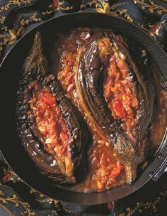 'Swooning Imam' stuffed aubergines recipe.  The precise reason for the Imam fainting is lost in the mists of time, but the dish is definitely good enough to bring about weakness at the knees