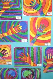 Warm and cool colours art lesson with tempera cakes and black oil crayon. 3rd grade. can link back to native people using their handprints to sign artwork