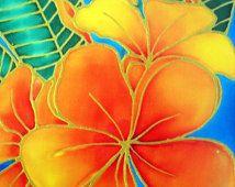 Golden Yellow Orange Plumeria Flowers by Silk Artist Melissa Verbena 8x10 hand signed unltd Print