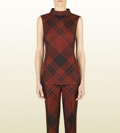 28db50a6117bc2 Check Print Silk Sleeveless Top by Gucci Silk Pajamas