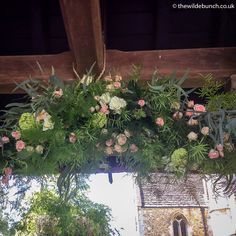 A hanging garland under the Lynch-gate at Orchardleigh church in Somerset. A perfect backdrop for the 'Just Married' photos as the Bride & Groom leave the church. A Wilde Bunch church flower design. Church Wedding Flowers, Aisle Flowers, Hanging Garland, Marquee Wedding, Just Married, Lynch, Somerset, Big Day, Bride Groom