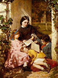 Sunshine Hours by Charles Lucy, unknown date. Reading Art, Girl Reading, History Page, Art History, People Reading, Book People, Art Ancien, Good Old Times, Cottage Art