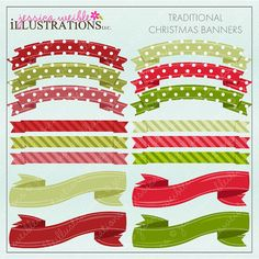 Traditional Christmas Banners Digital Clipart by JWIllustrations, $5.00