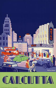 """vintagraphblog: """"This vintage travel poster shows the urban scene of a crowd gathered in front of the Metro Cinema in Calcutta, India, circa 1938. (Calcutta travel poster 