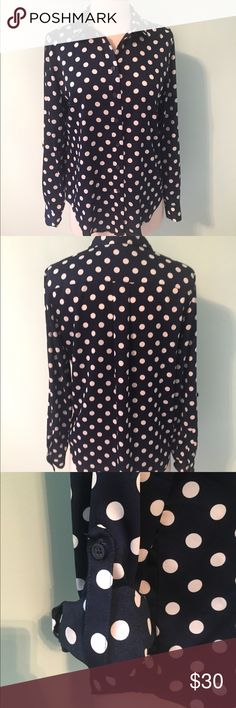 Ann Taylor shirt Navy and white polka dot shirt with adjustable sleeves. Ann Taylor Tops Button Down Shirts