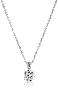 Platinum Plated Sterling Silver Round-Cut Cubic Zirconia Pendant Necklace, 18""