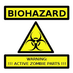 Clipart - Zombie Parts Warning Label
