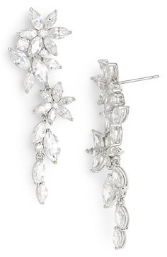 These could be great. Nadri Floral Crystal Linear Drop Earrings available at #Nordstrom