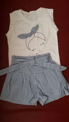 cd8584915a 2 PCS 2-6Years Roupas Roupas Das Meninas Do Bebê Verão Bonito Dos Desenhos  Animados Branco T-shirt + Shorts Azuis Crianças Conjunto de Roupas Crianças  traje ...