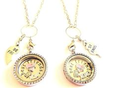 2 x 30mm BEST FRIENDS filled living memory locket - choice of chain -  FREEPOST
