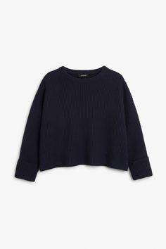 Monki Image 1 of Knit sweater in Blue Reddish Dark