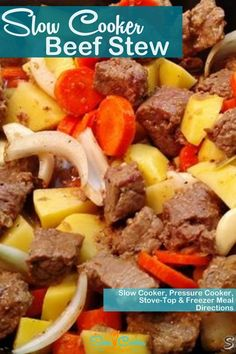 Super tasty, kid friendly crock pot beef stew! With crockpot, stove-top, pressure cooker, & freezer friendly directions! I hope this recipe helps you with your dinner preps and meal planning. Enjoy! | Slow Cooker Kitchen Slow Cooker Kitchen, Slow Cooker Beef, Slow Cooker Recipes, Crockpot Recipes, Soup Recipes, Easy Beef Stew, Crock Pot, Tasty, Freezer Meals