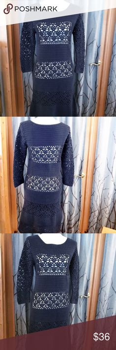 Boden size 6 navy hand crochet dress 💯 cotton Boden size 6 hand crocheted dress in navy. 3/4 length sleeves and slightly fitted. The slip is no longer, so you might want one of your own 😉. Beautifully detailed craftsmanship, sold at Anthropologie Boden Dresses
