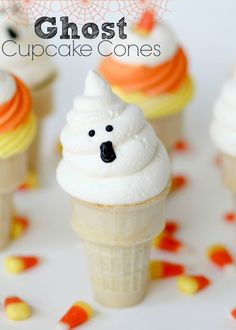Ghost Cupcake Cones -- A simple twist on a classic treat makes these EASY and FUN!!