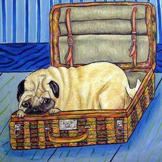 PUG IN A SUITCASE GIFT dog art tile coaster animal