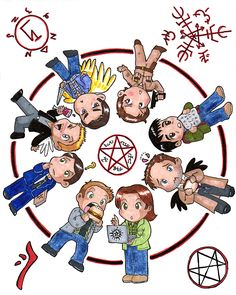 AWW so awesome #SPN #FANART (It is Dean, Sam, Castiel, Kevin, Jody, Michael/Young John, Balthazar, and Henry). CREDITS BY kosherart who said: I drew this for DCcon 2014. It's the 8 guests whose autographs came with the Gold ticket...hand drawn with pencil, Micron pens, Prismacolor markers, and Copic markers. I also had prints made to sell. If interested, please message me. There are a limited number available so first come, first serve.