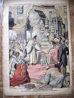 Cambodia, The Cremation ceremony of King Norodom. (Au Cambodge, la cremation solennelle des restes du roi Norodom) Pictures To Draw, Drawing Pictures, 1 Century, Angkor Wat Cambodia, Khmer Empire, Phnom Penh, Old Photos, Sculpture Art, Thailand