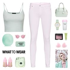 """""""Mint Baby Travel"""" by egordon2 ❤ liked on Polyvore featuring 7 For All Mankind, Topshop, Eos, Oliver Peoples, Kate Spade, Gianvito Rossi, Bow & Drape, NARS Cosmetics, Aveda and Keen Footwear"""