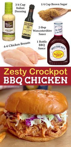 Looking for easy slow cooker chicken recipes? This 5 ingredient BBQ crockpot chicken is always a hit! Serve it in sandwiches, over a salad, or load it on top of a baked potato. It's an easy dinner recipe for the family that even the kids will love! This simple slow cooker idea will soon be on regular rotation for busy weekday meals. It's also fabulous for potlucks and parties, just double the recipe. #crockpotbbqchicken