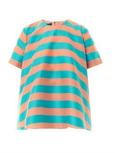 Shop now: Emilia Wickstead Marlee Striped Cotton-Blend Top
