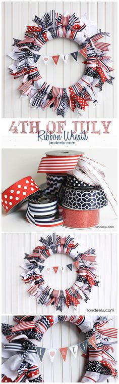 Ribbon Wreath Easy DIY Red, White and Blue of July Ribbon Wreath with cute and free printable patriotic mini bunting!Easy DIY Red, White and Blue of July Ribbon Wreath with cute and free printable patriotic mini bunting! Patriotic Crafts, July Crafts, Summer Crafts, Holiday Crafts, Holiday Decor, Patriotic Wreath, Holiday Ideas, Fourth Of July Decor, 4th Of July Decorations
