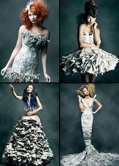℘ Paper Dress Prettiness ℘ art dresses made of paper - vestido reciclaje.19bis.com