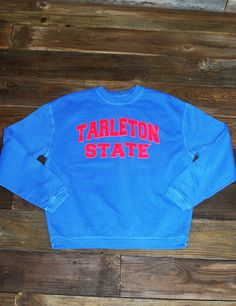 This sweatshirt is just so cute! Show your school spirit even when you're freezing in this cool Tarleton State University Comfort Color sweatshirt! Go TSU Texans!