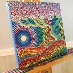 Rainbow inspired original dot painting. Dot Art.