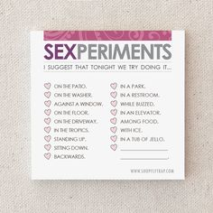 """Sexy Anniversary Gift. For Husband, Wife, Boyfriend, Girlfriend. Naughty. Adult. Sticky Notes. Paper. Notepad. """"Sexperiments"""" (NSN-L003)"""
