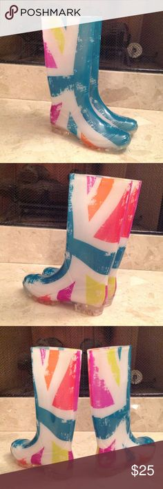 💖 'Atmosphere' - Tall Rain Boots Extremely pretty Multicolored Rain Boots. Size 8. Brand new but no price tag attached. Sheer White Frosted with beautiful Turquoise, Yellow, Purple and Orange. The Clear see through soles has deep grooves to minimize slipping on ice or water.  Price is firm! 😘 Shoes Winter & Rain Boots