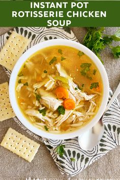 Make Instant Pot Rotisserie Chicken Soup from a roasted chicken carcass and leftover meat. This homemade soup recipe is easy and delicious! Rotisserie Chicken Soup, Homemade Chicken Soup, Easy Soup Recipes, Easy Dinner Recipes, Easy Meals, Soup Store, Homemade Bone Broth, Cooking A Roast, Instant Pot Pressure Cooker