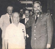 Com Fidel Castro, durante o encontro sobre a dívida externa da América Latina e do Caribe em Havana.  01 de agosto 1985