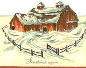 Vintage 1947 Christmas Card, Snow Covered Red Barn, Unused
