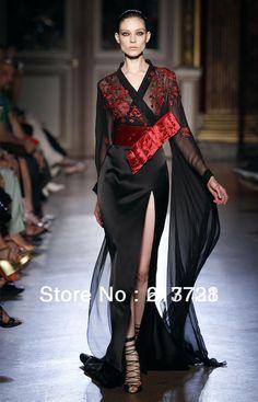 zuhair murad 2013 haute couture robes de soire  manches longues sexy noir robes de bal zh70 voir  travers