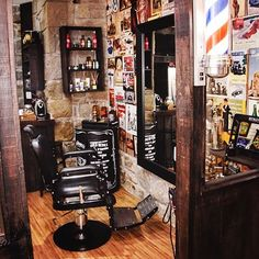 Another barber shop I need info on, but I'm coming up empty via Google Image Search. Love the dark wood and large exposed brick.