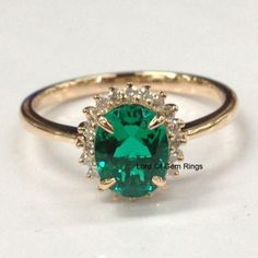 Oval Emerald Engagement Ring Diamond Halo 14K Rose Gold,6x8mm - Lord of Gem Rings - 1