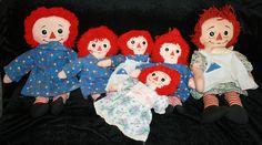Lot 6 Raggedy Ann Plush Dolls I Love You Matching Clothes Plush Stuffed Animal Toy Toys by myrustygold on Etsy