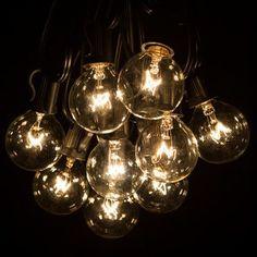 25 outdoor patio string light set g40 clear globe bulbs 28 ft black