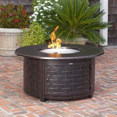 Fire Sense Perissa Round Propane Fire Pit Patio Table - Woven Cast Aluminum (#62208)