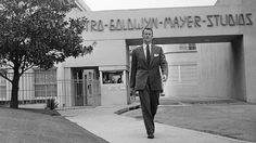 Samuel Goldwyn Jr. outside the main gate at Metro-Goldwyn-Mayer studios in 1959.