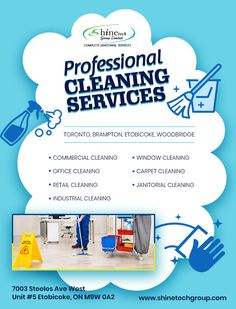 Phone: 647-955-9532  Call #ShineTechGroup Experts to Clean Your Offices, Commercial Spaces and Homes.  100% Hygiene. Fast & Efficient. Removes Tough Stains. Eco Friendly. Highest Safety Standards. Timely Delivery. Well Trained Staff.  Office Address: 7003 Steeles Ave West, Unit #5, #Etobicoke #Ontario M9W 0A2 #Canada  #CleaningServices #Cleaning #Cleaner #CleaningAgency #CleaningServicesEtobicoke    #CommercialCleaningServices #JanitorServices  #Toronto #Brampton #Woodbridge #CleaningExperts