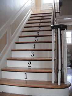 Stair risers numbered with stencils or metal house numbers.